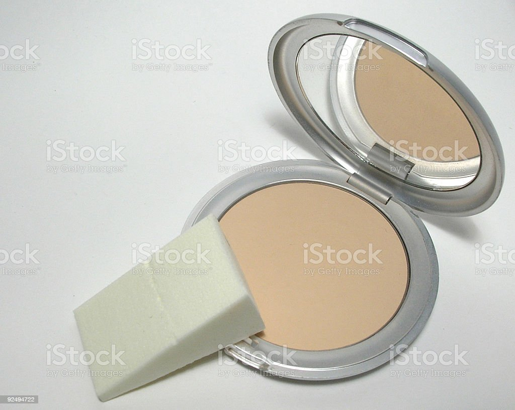 Pressed powder with sponge royalty-free stock photo