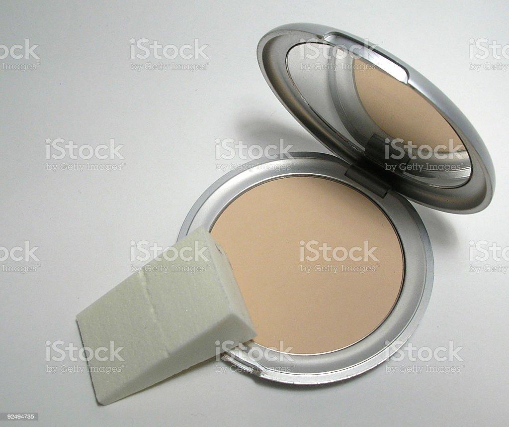 Pressed powder with sponge royalty-free stock photo