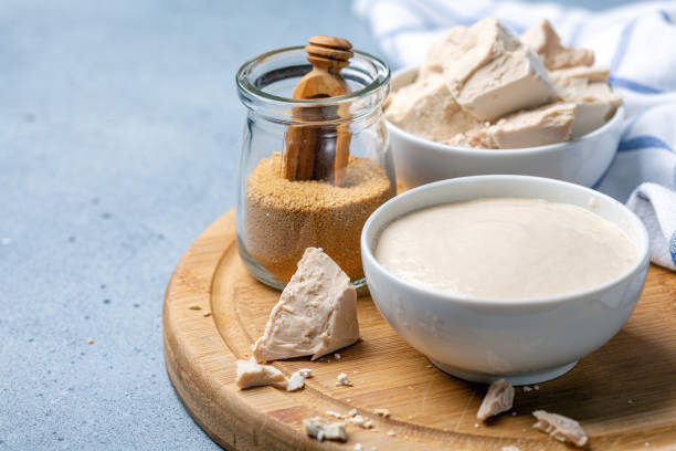 Pressed yeast, dry yeast and active sourdough starter. stock photo