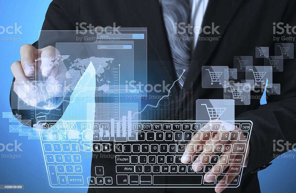 presses keyboard touch screen interface Workplace businessman stock photo