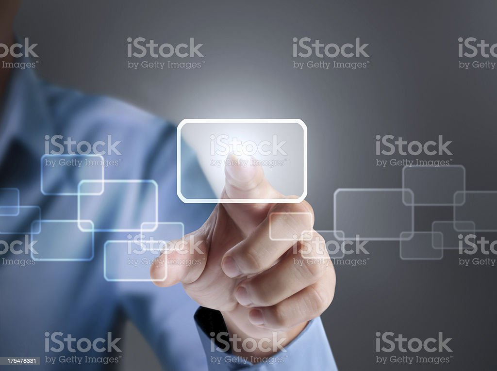 pressing a touchscreen button royalty-free stock photo