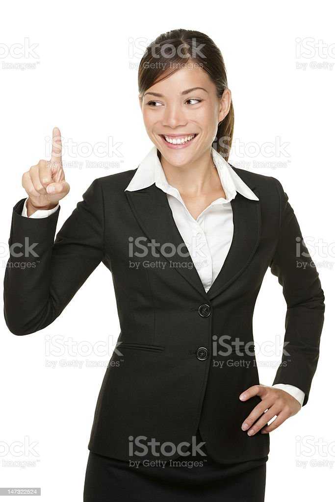 pressing button business woman royalty-free stock photo
