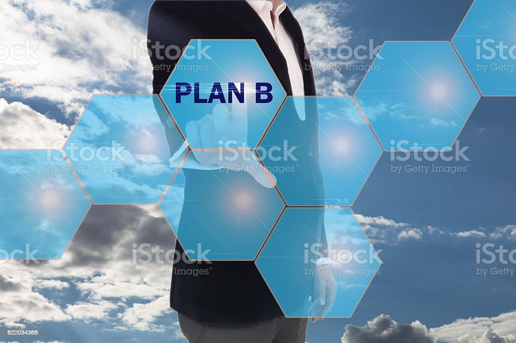 pressing button on touch screen interface and selecting plan b. stock photo