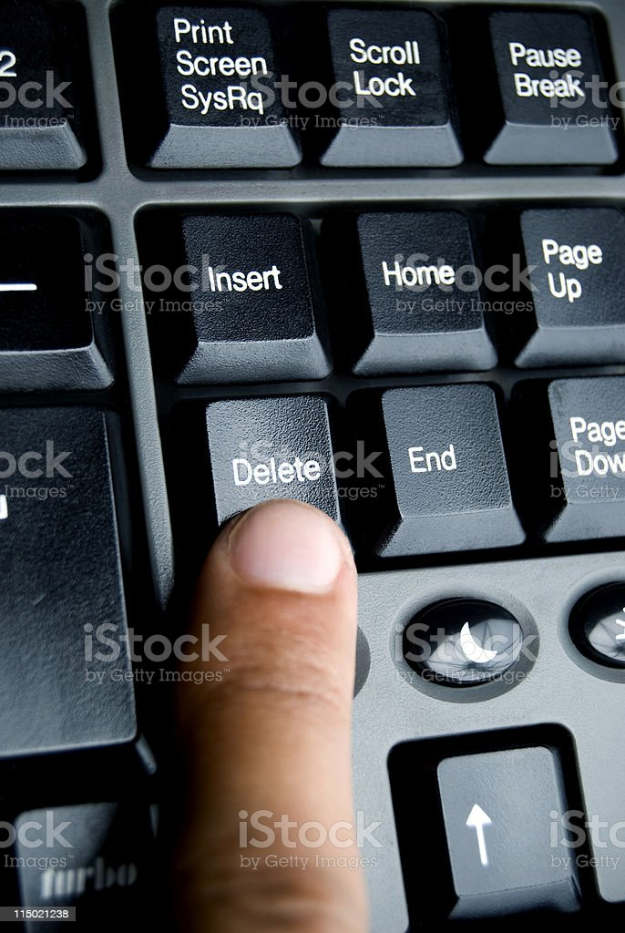 Pressing Delete on the keyboard stock photo