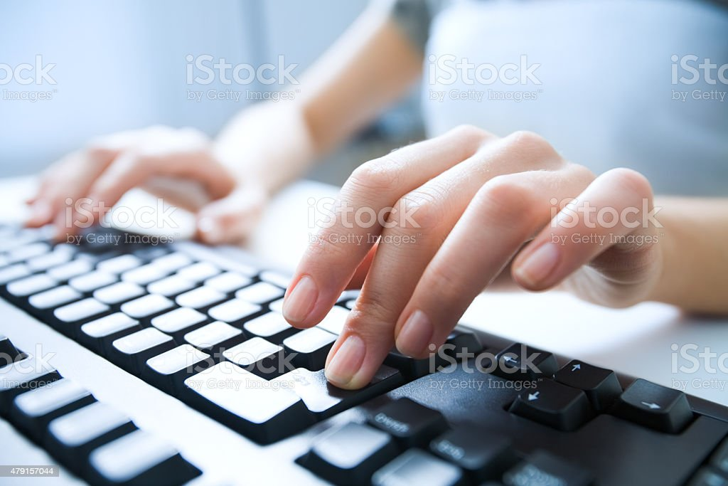 Pressing enter button stock photo