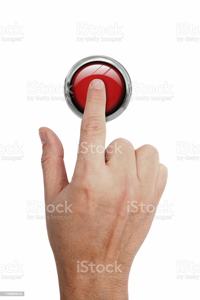 Pressing STOP button royalty-free stock photo