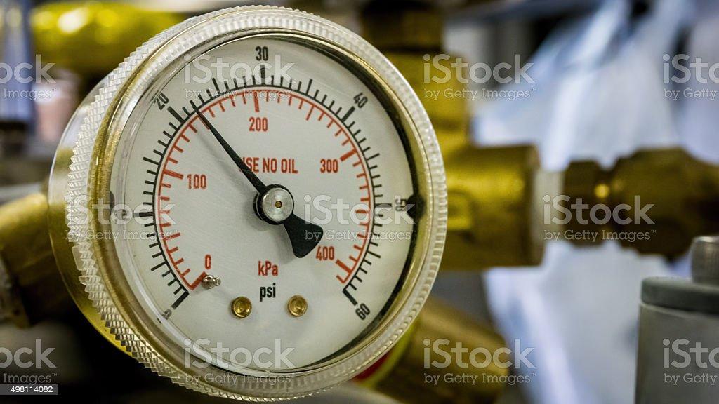 Pressue gauge up close stock photo