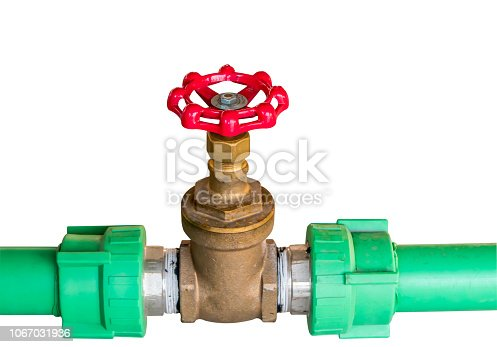 Pressure control valve manual isolate on white background