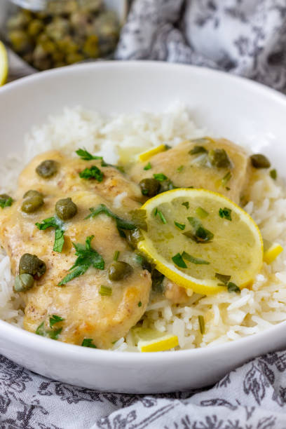 Pressure Cooker Chicken Piccata with Capers stock photo
