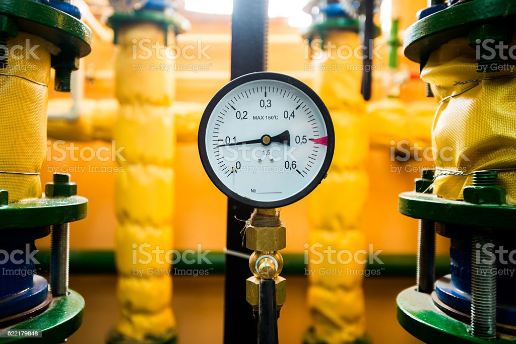 pressure device for heating system stock photo