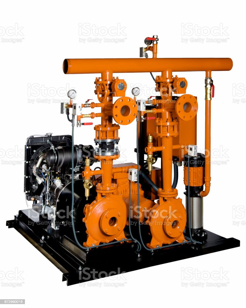 pressure fire equipment, combustion engine and electric stock photo
