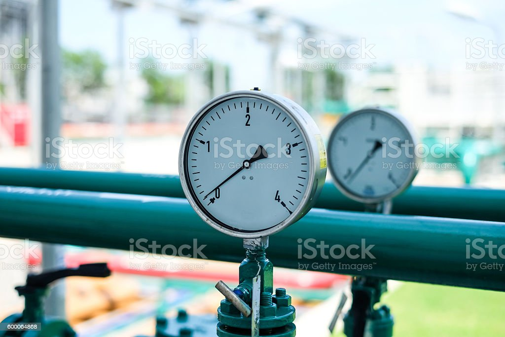 Pressure gauge and instrument in power plant stock photo