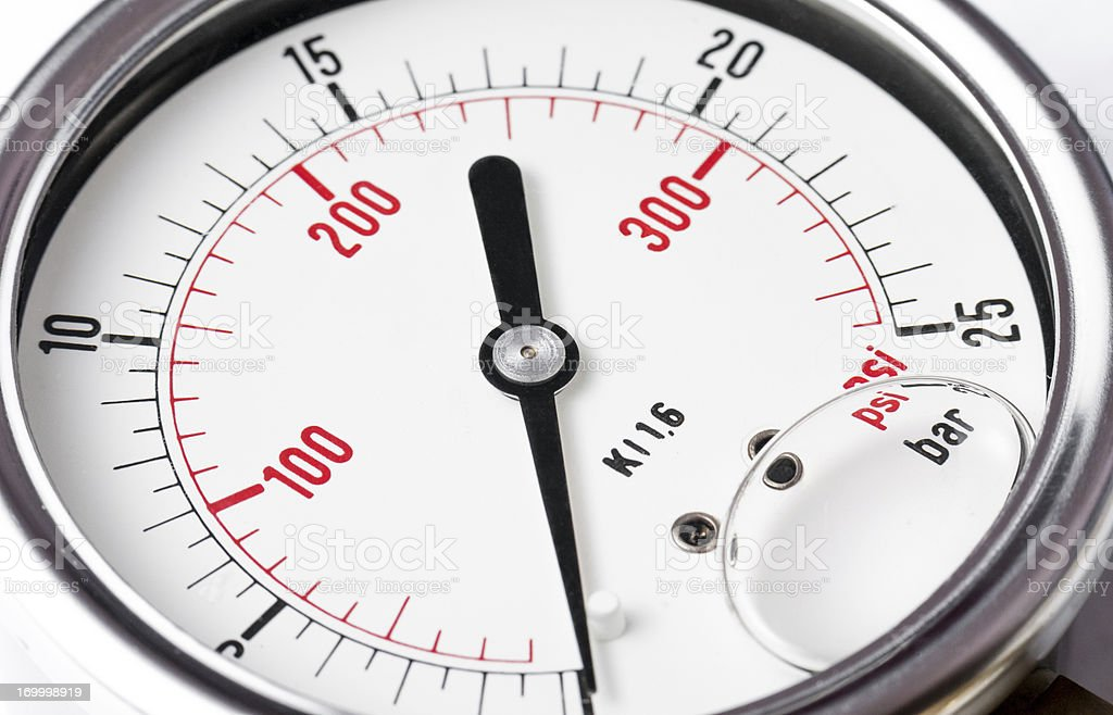 Pressure gauge detail stock photo