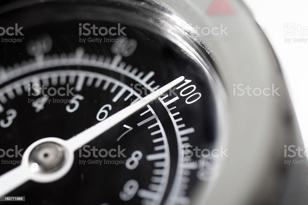 Pressure Gauge Dial at 100 stock photo