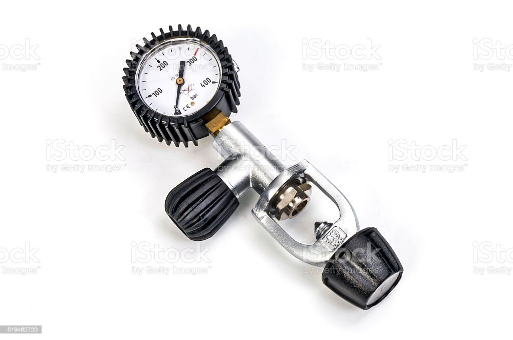 Pressure gauge for scuba stock photo