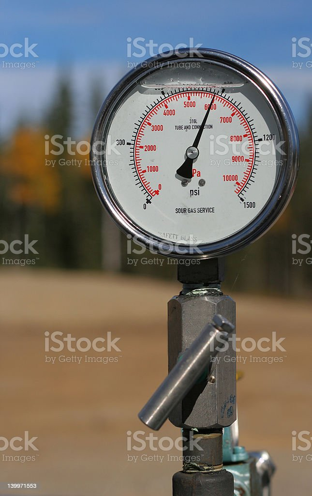Pressure gauge for sour gas well. stock photo