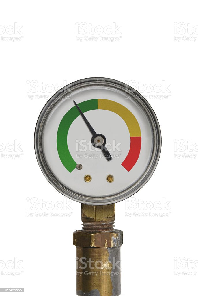 pressure gauge - green range stock photo