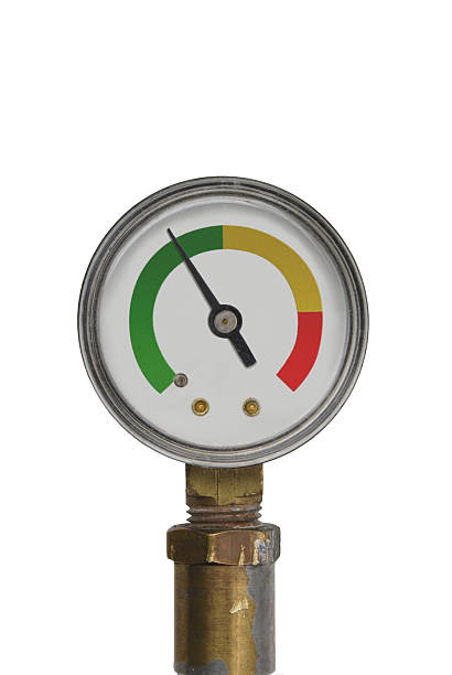 pressure gauge - green range stock photo