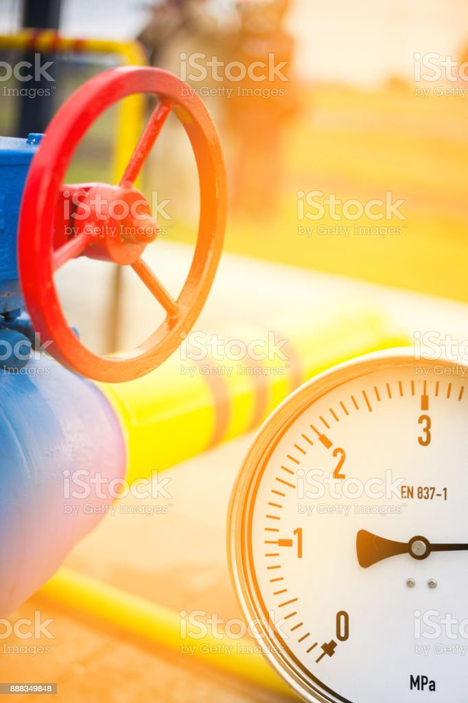 Pressure gauge in oil and gas production process for monitor condition stock photo