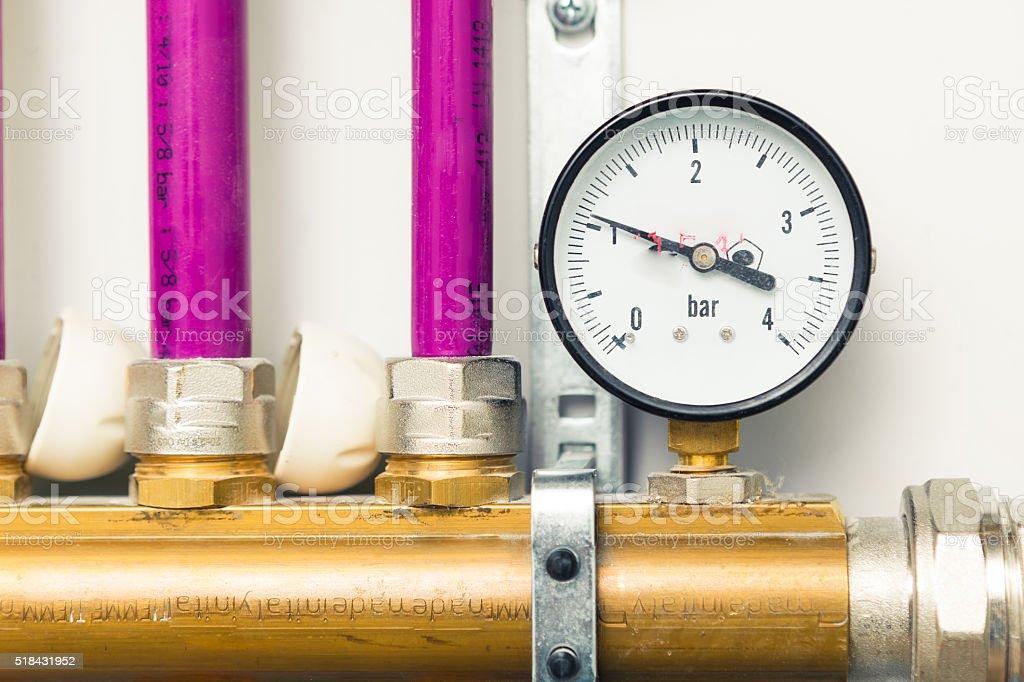 pressure gauge indicator in boiler-room stock photo