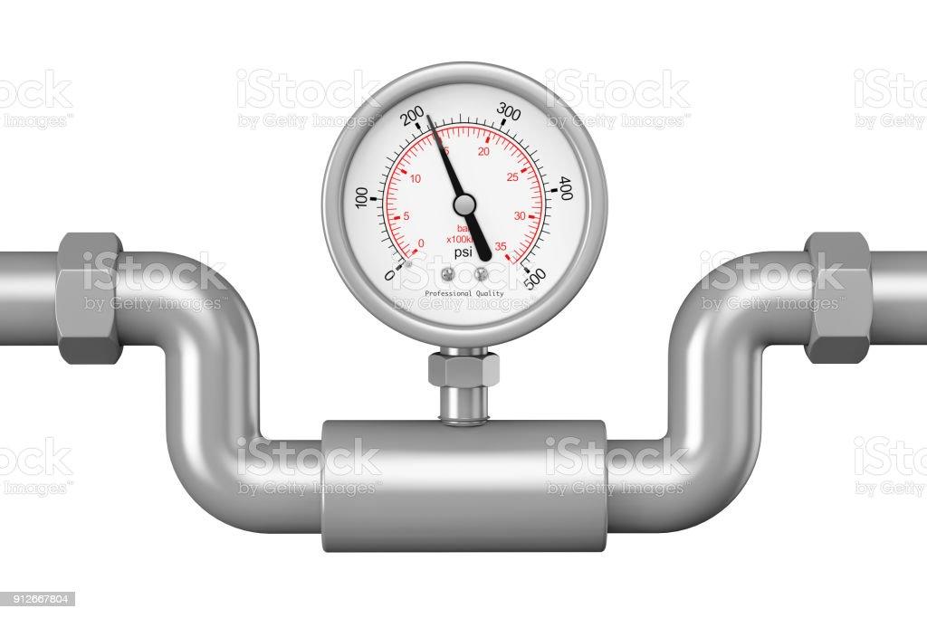 Pressure Gauge Manometer In Industrial Pipe 3d Rendering