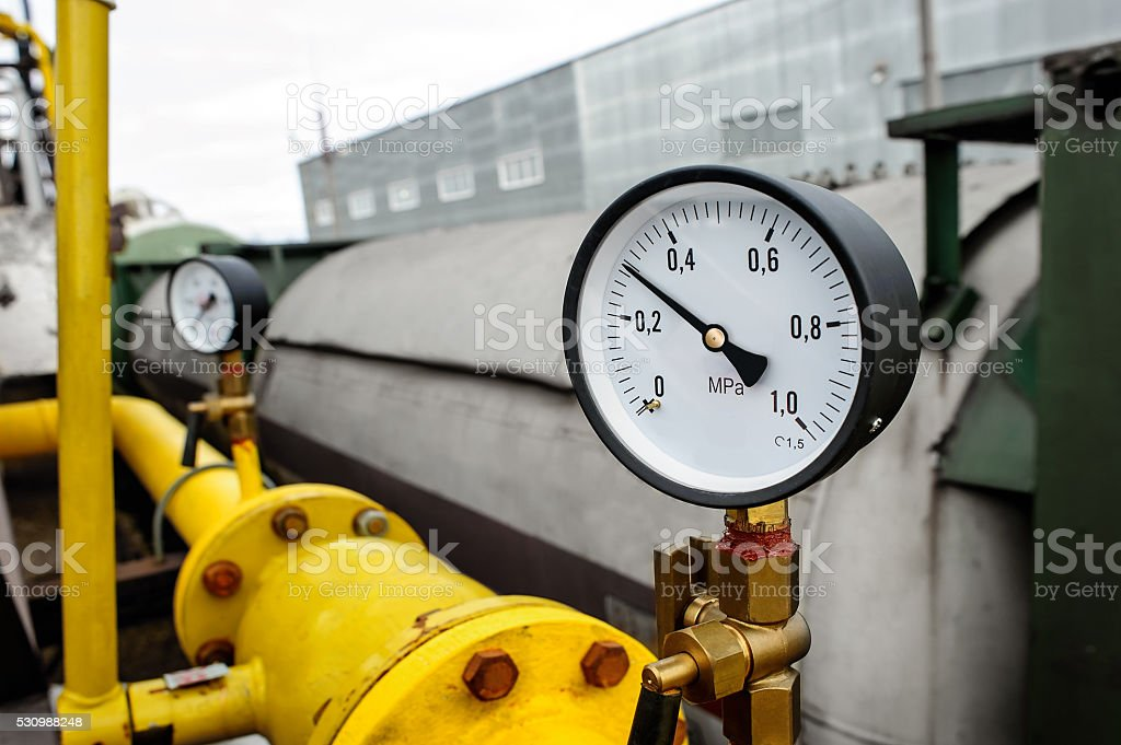 Pressure gauge manometer stock photo