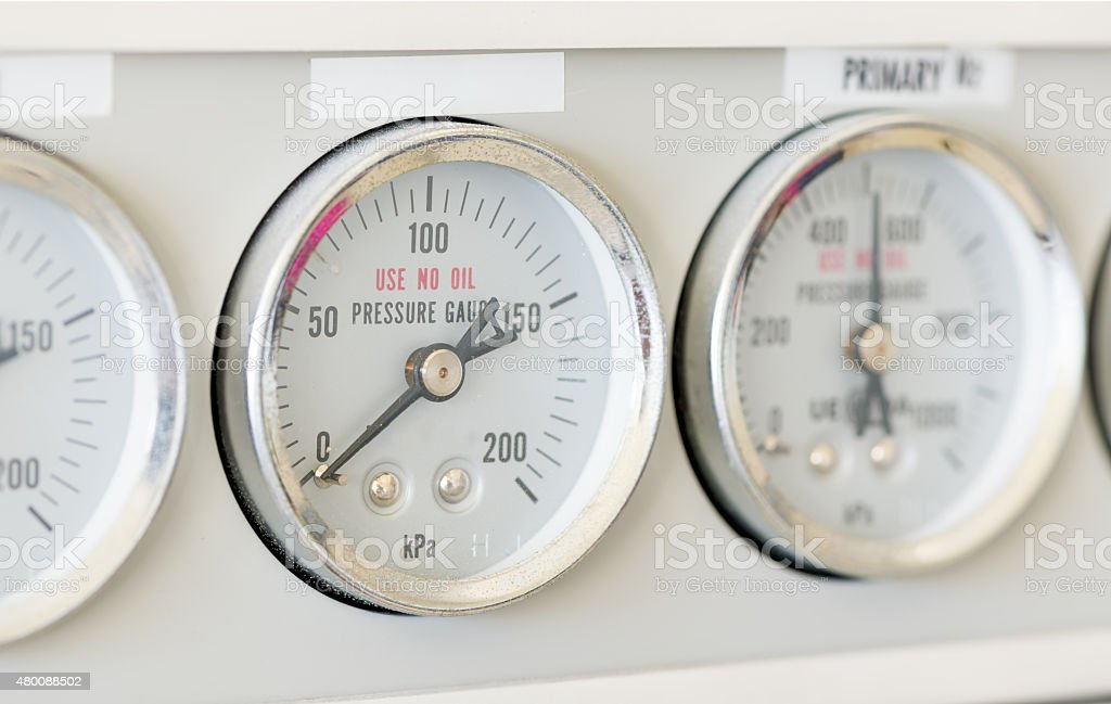 pressure gauge of Gas Chromatography stock photo