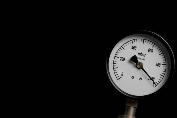 pressure gauge on black background stock photo