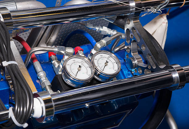 pressure gauge on the air compressor The pressure gauge on the air compressor compressor stock pictures, royalty-free photos & images