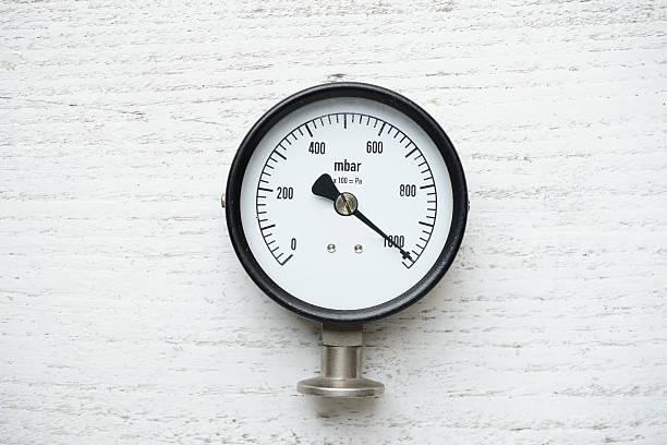 pressure gauge on wood background - barometer bildbanksfoton och bilder