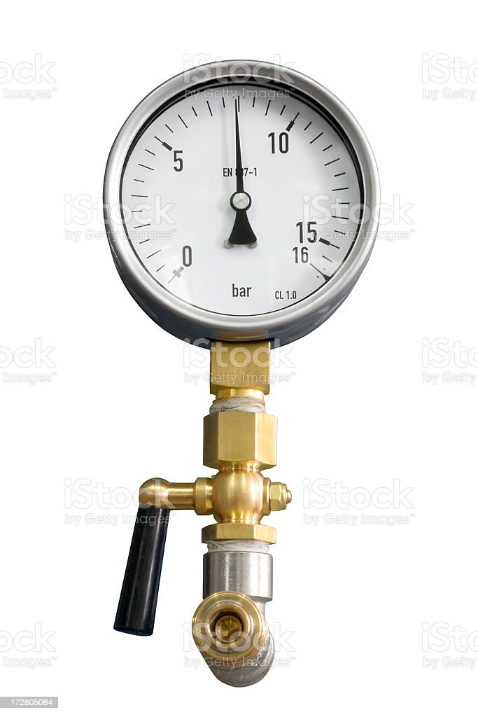Pressure gauge (clipping path included) royalty-free stock photo