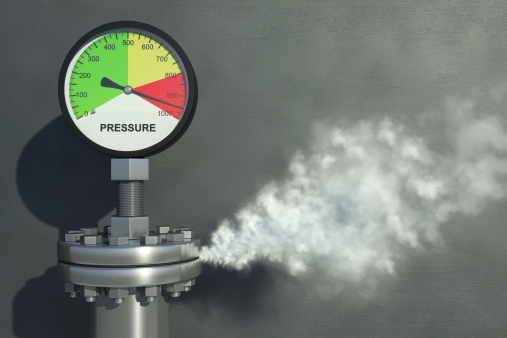 Gas or steam leaking from an industrial pressure gauge. Very high resolution 3D render.Also available.
