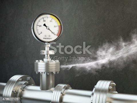 Gas or steam leaking from an industrial pressure gauge. HD 3d Render.