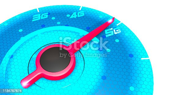 istock Pressure gauge, speed meter, speed test, internet speed and 5G connection. New technologies, exploit broadband. 1134767874