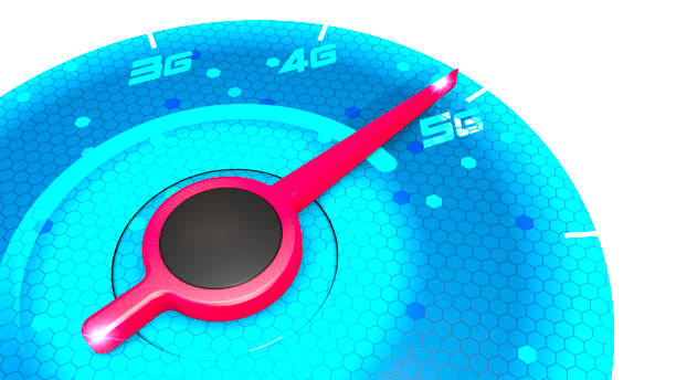 pressure gauge, speed meter, speed test, internet speed and 5g connection. new technologies, exploit broadband. - 4g foto e immagini stock