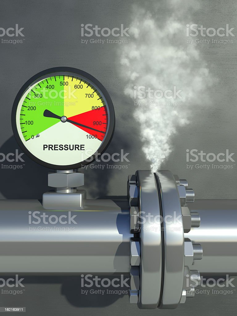 A pressure gauge steaming and showing very high pressure stock photo
