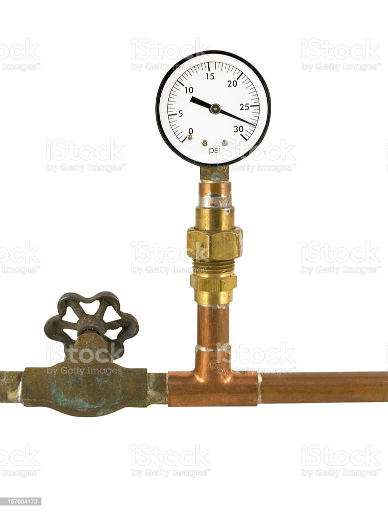 pressure gauge valve and plumbing royalty-free stock photo