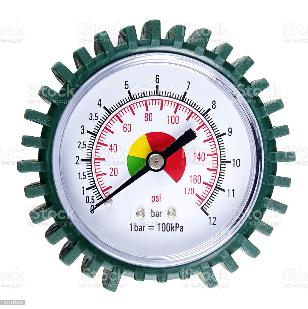 Pressure Gauge With Bar And PSI Scales For Tyre Inflation stock photo