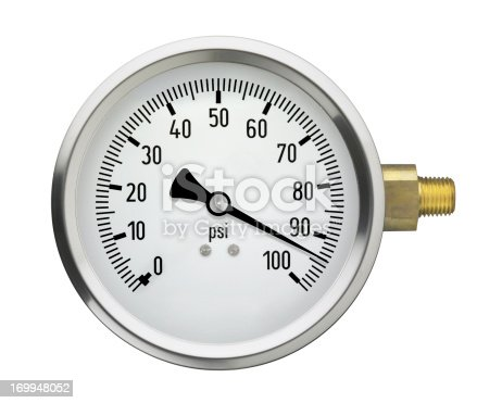A generic pressure gauge with a very high reading, isolated on a white background.
