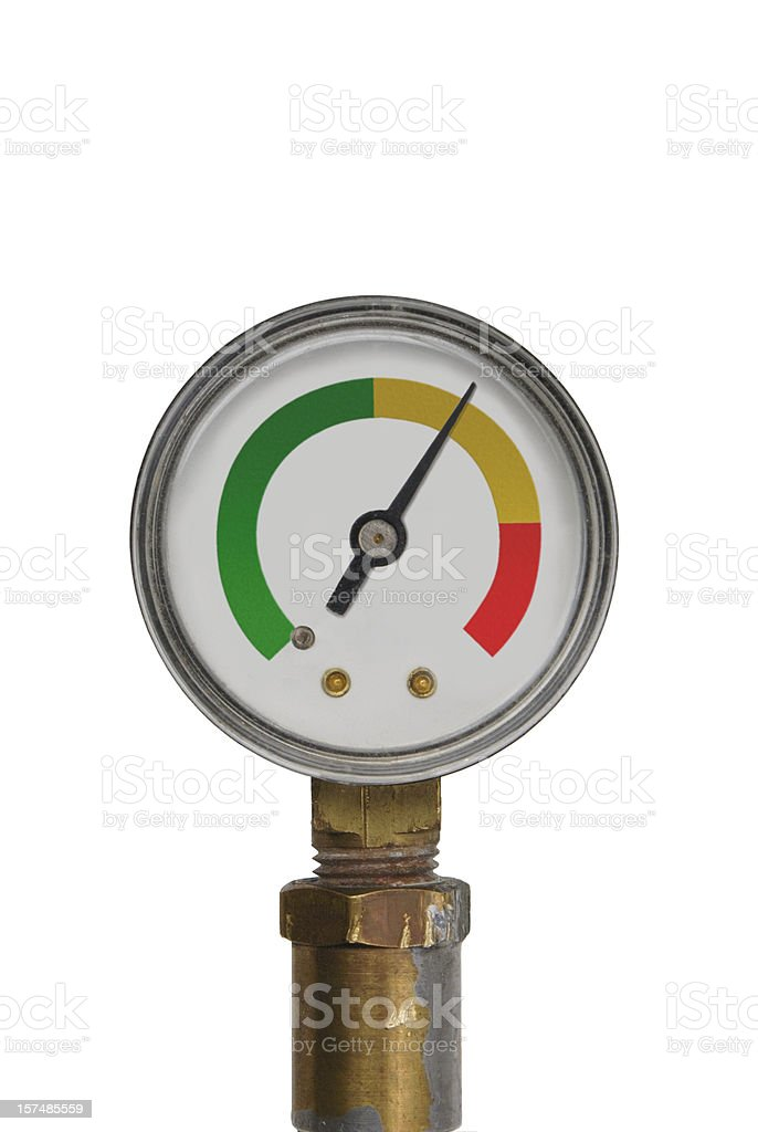 pressure gauge - yellow range stock photo