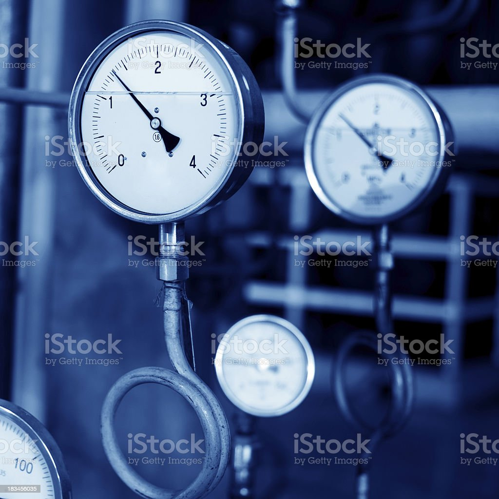 Pressure gauges and valves royalty-free stock photo