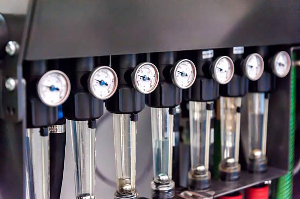 pressure gauges - cogeneration plant stock photos and pictures