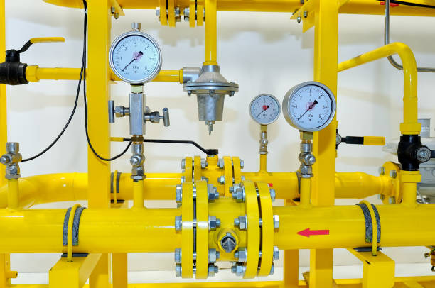 Pressure meters on natural gas pipeline stock photo