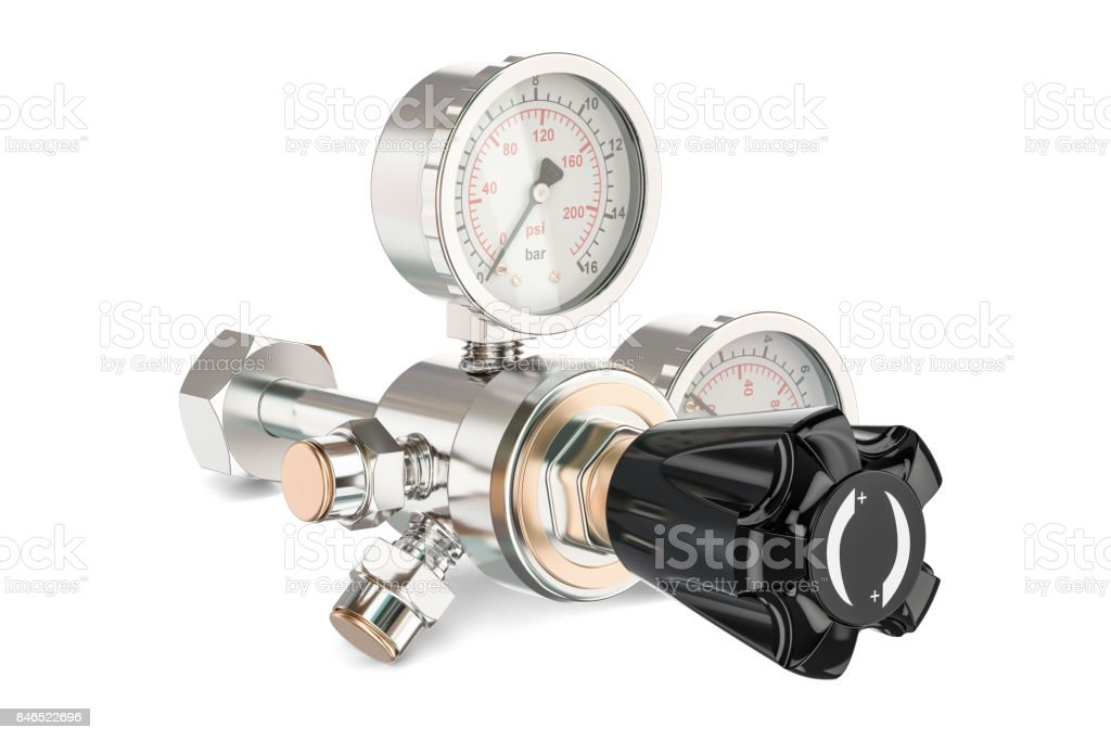 Pressure regulator with reducing valve, 3D rendering isolated on white background stock photo