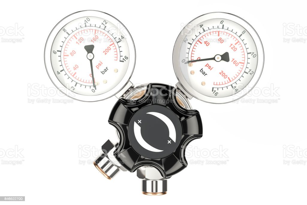 Pressure regulator with reducing valve, front view. 3D rendering isolated on white background stock photo