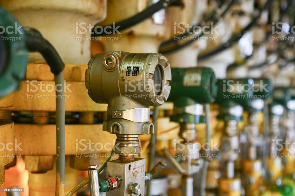 Pressure transmitter in oil and gas process stock photo
