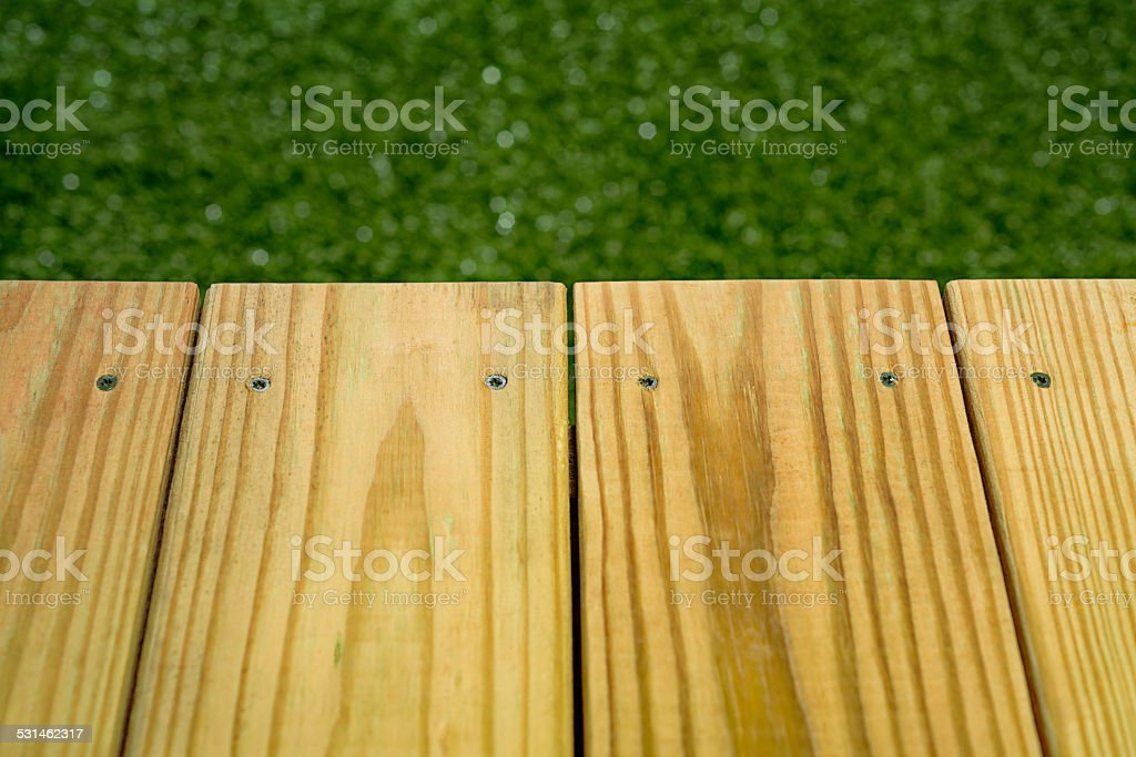 Pressure Treated Wood Deck stock photo