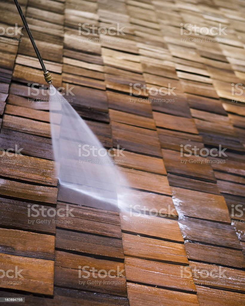 Pressure Washing a Roof stock photo