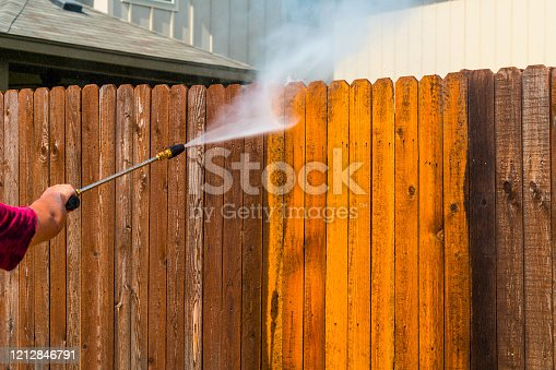 Pressure Washing Wooden Fence
