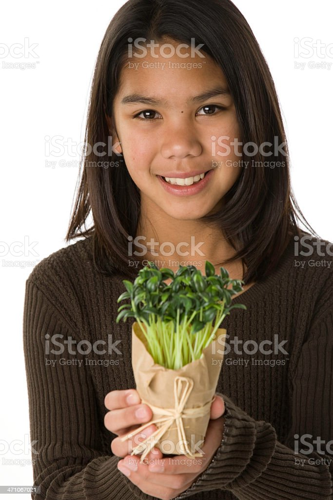 Pre-Teen Cares About the Environment stock photo